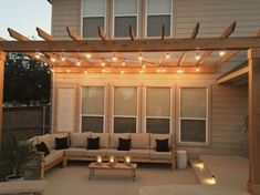 Amazing Modern Pergola Patio Ideas for Minimalist House. Many good homes of classical, modern, and minimalist designs add a modern pergola patio or canopy to beautify the home. In addition to the installa. Outdoor Decor, House, Home, Small Backyard, Patio Design, Deck Decorating, Pergola Designs, New Homes, Outdoor Sectional