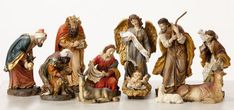 "9"" Heaven's Majesty Nativity Figure Set   Wood carved look, hand-painted in traditional colors. Beautiful 11 piece heirloom quality nativity set. Removable Baby Jesus! This stunning Nativity has some of the finest detail we've seen! The faces on these figures are painted with great care and the quality is visible. Figures are 9"" tall. (Item #23589)"