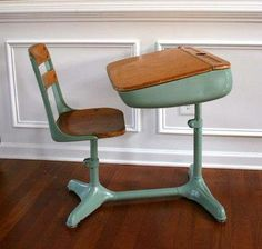 """Old School"" is remembering when school desks looked like this."