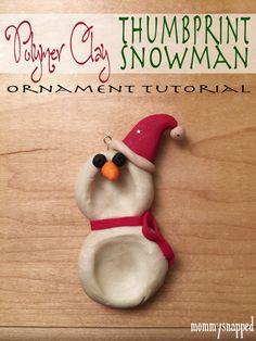 Polymer Clay Thumbprint Snowman Tutorial