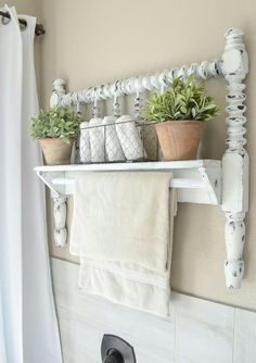 Antique Wall Shelf and Towel Rack #countryfurniture