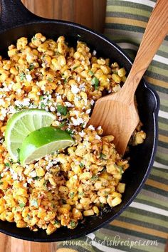 Mexican Street Corn Recipe: Grilled corn is tossed with mayonnaise, sour cream, lime juice and spices in this delicious Tex-Mex side dish (Torchy's Tacos copycat). Mexican Food Recipes, Vegetarian Recipes, Cooking Recipes, Healthy Recipes, Mexican Desserts, Juice Recipes, Cooking Tips, Chipotle Recipes, Mexican Drinks