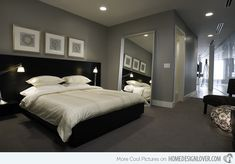 Bedroom Chicago black, gray and white makes this a great bedroom.