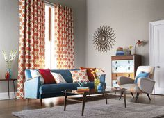 living room, retro curtains, from Harlequin
