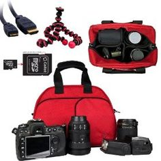 Vangoddy designed RED Medium DSLR & SLR Camera Bag, Mythra Collection Sling For all Canon SLR Entry Level or Professional Cameras with room for all Canon accessories (EOS Rebel T3, T3i, T2i, T1i, XS, EOS 60D, 7D, 5D Mark II Full Frame CMOS, Camera body Only, Lenses, Grip, SLR Flash equipment, Camera Batteries, ect) + 4GB Micro SD Card with SD Adaptor + Black & Pink 6 inch Flexigrip Camera Tripod + Gold 6 ft HDMI to Mini HDMI Cable