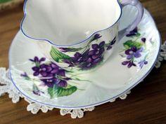 Shelley Violets Teacup and Saucer, Purple Trim, c1945-1966, Vintage Tea Cup 13651 - The Vintage Teacup - 5