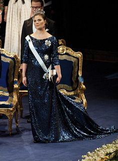 Crown princess Victoria at the Nobel-prize ceremony and banquette in 2011 dress by Pär Engsheden