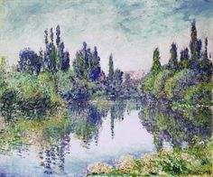 """""""Morning on the Seine, near Vetheuil"""" ・ by Claude Monet ・ Completion Date: 1878 ・ Style: Impressionism ・ Genre: landscape Claude Monet, Monet Paintings, Landscape Paintings, Landscapes, French Paintings, Renoir, Artist Monet, Camille Pissarro, Impressionist Paintings"""