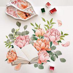28 Ideas Flowers Art Illustration Drawings For 2019 Watercolor Projects, Watercolor Drawing, Watercolor Illustration, Watercolor Flowers, Painting Flowers, Flower Illustration Pattern, Art Hub, Botanical Art, Cute Art