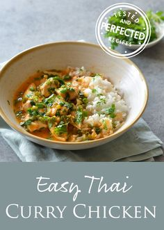 Thai red curry chicken — a one-pan dish of chicken pieces simmered in a bright, curry-infused coconut milk sauce — is one of those easy weeknight dinner dishes. It comes together in just 30 minutes with minimal prep work and is a fast family favorite. Indian Food Recipes, Asian Recipes, Ethnic Recipes, Dinner Dishes, Dinner Recipes, Breakfast Recipes, Thai Red Chicken Curry, Cashew Chicken, Thai Red Curry