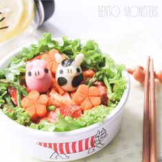 Pig & Cow Eggs with Carrot Flowers Bento