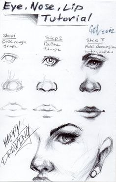 Eye, nose and lip tutorial! It's in the shadows #DrawingFaces
