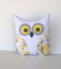 grey and yellow nursery, yellow grey pillow, decorative owl pillow, home decor… Yellow Pillows, Grey Pillows, Cute Pillows, Animal Pillows, Grey Yellow Nursery, Pink Grey, Felt Pillow, Throw Pillow, Sewing Pillows