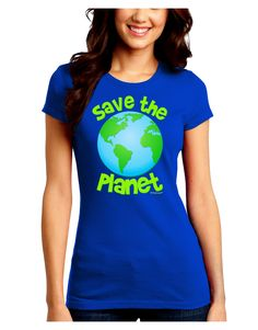 TooLoud Save the Planet - Earth Juniors Crew Dark T-Shirt