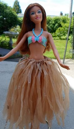 Happier Than A Pig In Mud: Recycled Plastic Bag Hula Skirt for Barbie-Tutorial