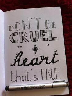 Don't be cruel / Hand lettering by Katya Lounis 11K, via Behance