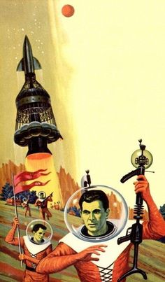 """talesfromweirdland: """"Cover art of the 1976 edition of INVADERS FROM RIGEL (1960). Artist unknown. """""""
