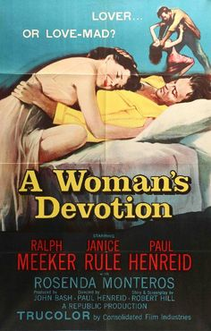 "Film: A Woman's Devotion (1956) Year poster printed: 1956 Country: USA Exact Size: 27"" x 41"" This is an original one-sheet movie poster from 1956 for A Woman's Devotion starring Ralph Meeker, Janice R"