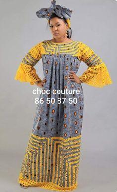 Ensemble boubou pagne Short African Dresses, African Blouses, Latest African Fashion Dresses, African Print Fashion, Africa Fashion, Abaya Fashion, Kimono Fashion, Muslim Fashion, Fashion Outfits