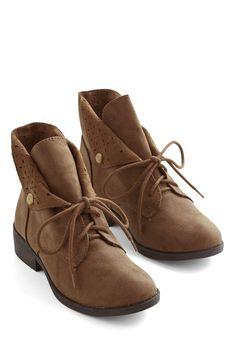 March to My Surprise Bootie in Brown - Low, Faux Leather, Brown, Solid, Cutout, Menswear Inspired, Fall, Good, Lace Up, Variation