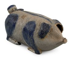 Stoneware pig flask, c., attributed to Anna Antique Crocks, Antique Stoneware, Stoneware Crocks, Antique Pottery, Or Antique, Earthenware, Glazes For Pottery, Glazed Pottery, Pink