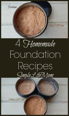 Homemade foundation recipe for powder or liquid mineral makeup using clays, herbal powders, and other healthy ingredients for a healthy beauty routine.