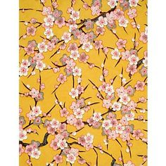 "Yuzen Pink & White Plum Blossoms on Curry Fine Paper  25"" x 19"""