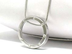 White Gold Plating Crystal Stud Circle Pendant Necklace