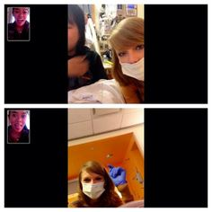 Taylor visited kids in the hospital today in NYC. She facetimed with one of the patients friend @ iindseylay.