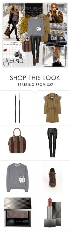 """""""C.F - BURBERRY LOOK"""" by elenadal ❤ liked on Polyvore featuring Oris, Chiara Ferragni, Burberry, Valentino, 7 For All Mankind and Balmain"""