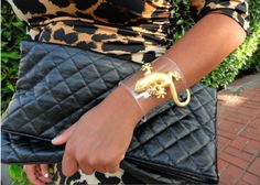 DIY Lucite Statement Cuff Inspired by Tory Burch, DSquared, and Vionnet. #diy #crafts #fashion #tory_burch #vionnet #DSquared #jewelry #cuff #bracelet #plastic #lucite