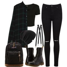 style Edgy school - Designer Clothes, Shoes & Bags for Women Cute Emo Outfits, Bad Girl Outfits, Teenage Girl Outfits, Punk Outfits, Cute Outfits For School, Teen Fashion Outfits, Teenager Outfits, Mode Outfits, Grunge Outfits