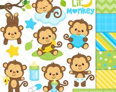 Baby Monkey Girl Clipart and Digital paper by pixelpaperprints