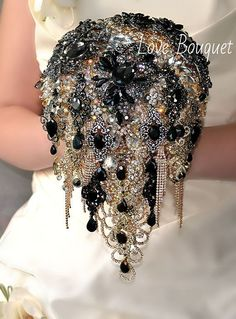 Black Brooch Bouquet Cascading Black and Gold by LoveBouquet
