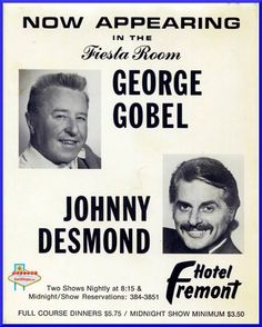 This is a table topper from the Fremont Hotel and Casino featuring George Gobel and Johnny Desmond