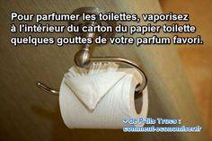 De mauvaises odeurs persistent dans vos toilettes ? Vous ne savez plus comment faire pour préserver la fraîcheur de cette pièce ? J'ai une solution toute simple et radicale pour vous débarrasser durablement de ce problème et parfumer vos toilettes à moindres frais ! Une goutte de parfum et le tour est joué ! Voici comment faire :