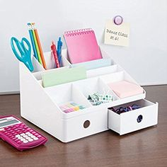 Amazon.com: mDesign Office Supplies Desk Organizer for Scissors, Pens, Markers, Highlighters, Tape - 2 Drawers, White: Office Products