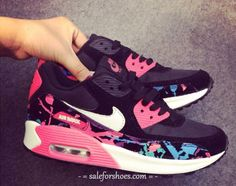 2014 New Nike Air Max 90 Womens Shoes Black Watermelon red