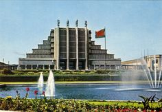 Radio Vlaanderen International QSL Card from 1997 showing the Centenary palace in Brussels. QSL is from Belgische Radio en Televisie (BRT)   QSL for 20/2/97 at 0730 UTC on 5985 kHz