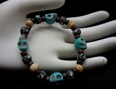 Turquoise Skull Bracelet by The Gypsy Bead