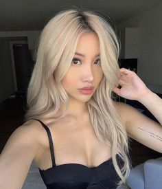 Look at those cool Asians with blonde hair, who says you can't be one of them too? Believe it or not, most people can pull off blonde hair. Blonde Asian Hair, Hair Color Asian, Light Blonde Hair, Dyed Blonde Hair, Blonde Hair Looks, Balayage Hair Blonde, Platinum Blonde Hair, Dye My Hair, Asians With Blonde Hair