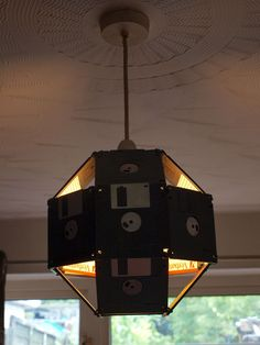 Floppy disk Lampshade tutorial.  Super fun!