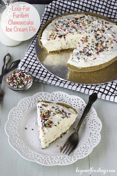 This no-bake, Low-Fat Funfetti Cheesecake Ice Cream Pie is the best way to enjoy a lightened up dessert. Use all low-fat or fat-free ingredients for a homemade funfetti ice cream cheesecake.