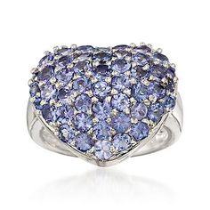 A bold love token: a heart-shaped ring adorned with tanzanite gemstones. Polished sterling silver ring. >>Click on the Heart Ring to see more styles from Ross-Simons.