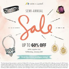 The moment all my customers were waiting for: SEMI ANNUAL SALE! Time to get some jewels ready for Spring. Check out the pieces on Sale, look for the blue sticker! www.chloeandisabel.com/boutique/rebeccareyes