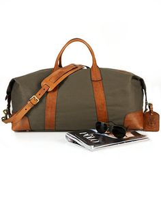 Polo Ralph Lauren Bag, Canvas & Leather Duffel Bag - Bags & Backpacks - Men - Macy's