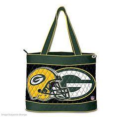 The Bradford Exchange Green Bay Packers Quilted Carryall Tote Bag Green Handbag, White Handbag, Green Purse, Nfl Green Bay, Green Bay Packers, Packers Gear, Packers Football, Metallic Handbags, Leather Handbags