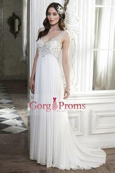 2015 Chiffon V-Neck Wedding Dresses A-Line Court Train With Beads US$ 199.99 GPP1FJE7F6 - gorgproms.com