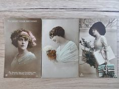 3x Antique Woman Portrait Photo hand painted Tinted Postcards