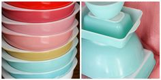 In Color Order: The Pyrex 024 Series: Solid Colors.  I have the orange shown on top.  It also has the rounded glass lid.  Found at Goodwill.
